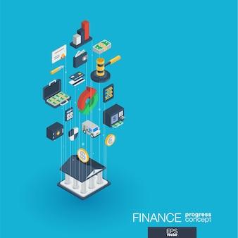 Financie ícones web integrados. conceito de progresso isométrico de rede digital. sistema de crescimento de linha gráfica conectada. abstrato para banco de dinheiro, transação de mercado. infograph