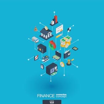Financie ícones web integrados. rede digital isométrica interagir conceito. sistema gráfico de pontos e linhas conectado. abstrato para banco de dinheiro, transação de mercado. infograph