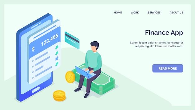 Financie o conceito de aplicativos móveis de tecnologia fintech para o modelo de site, aterragem na página inicial com apartamento isométrico moderno