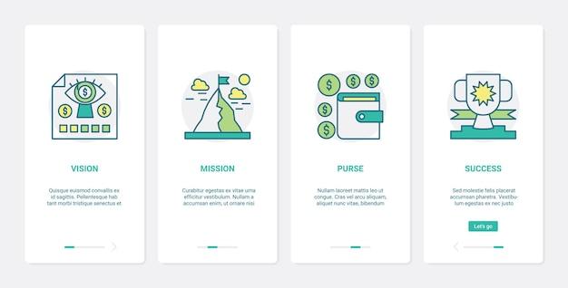 Financie o conjunto de tela da página do aplicativo móvel de integração do ux ui da tecnologia de negócios de sucesso