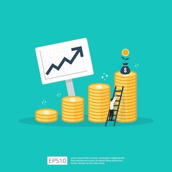 Financie o desempenho do conceito de roi de retorno do investimento com seta. aumento da taxa salarial de renda.
