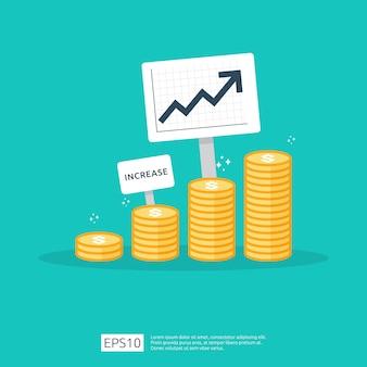 Financie o desempenho do conceito de roi de retorno do investimento com seta.