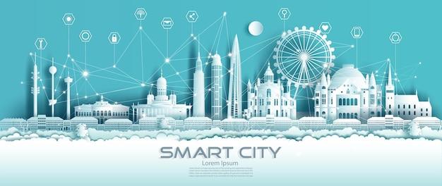 Finland smart city em estilo recortado de papel