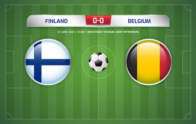 Finlândia x bélgica transmissão do placar do torneio de futebol 2020 grupos b