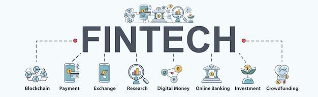 Fintech-banner de tecnologia financeira web conjunto de ícones