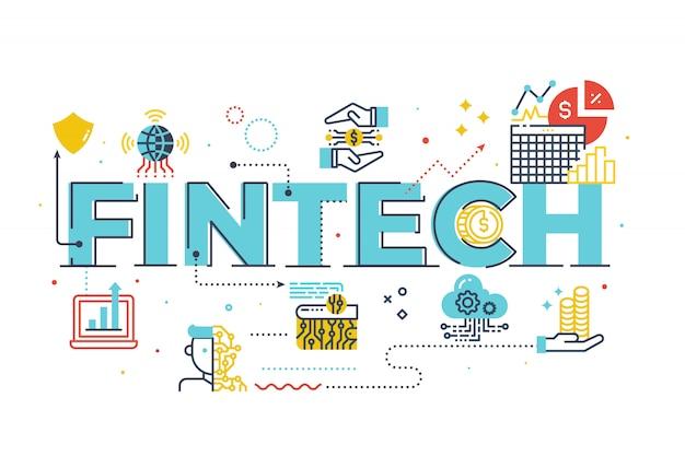 Fintech (financial technology) palavra lettering ilustração