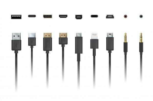 Fio de cabo. carregamento do dispositivo e ilustração do soquete do celular da conexão e ilustração do cabo.