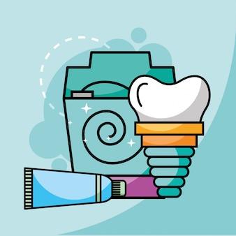 Fio dental e implante dentário