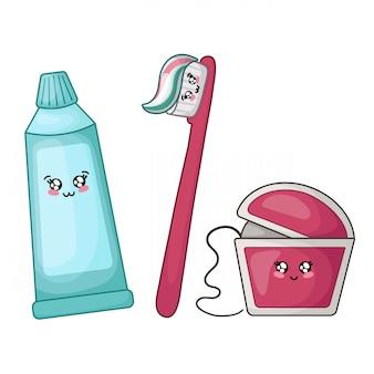 Fio dental, pasta de dentes e escova kawaii