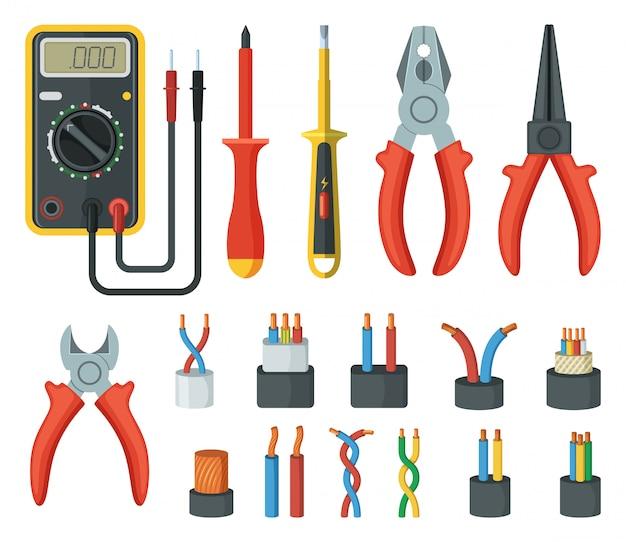 Fios de cabo elétrico e diferentes ferramentas eletrônicas.