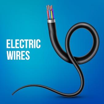 Fios de cobre elétricos flexíveis, cabo de alimentação curvo
