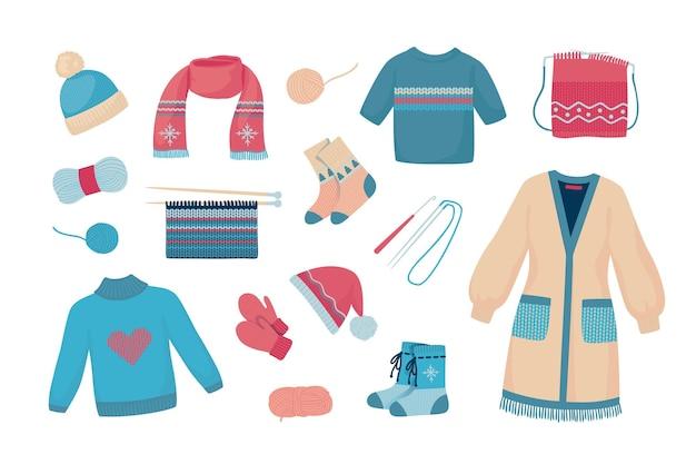Fios de lã. suéteres de malha de outono e inverno, meias e cachecóis, roupas de desenho animado e instrumentos de tricô