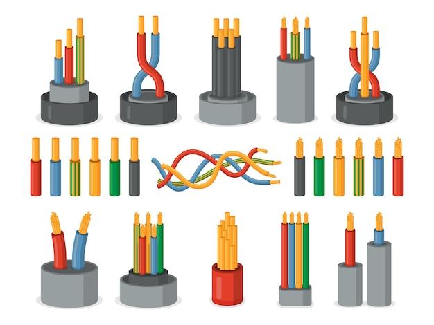 Fios elétricos. conjunto de núcleo único e multicore