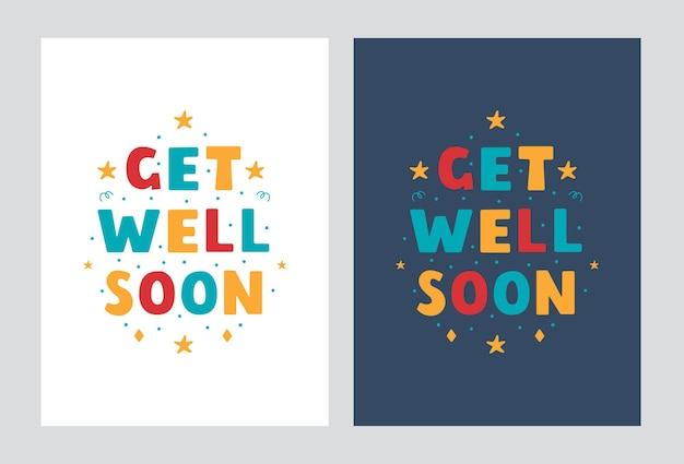 Fique bem logo letras de cartazes em design moderno de estilo simples em um fundo claro e escuro