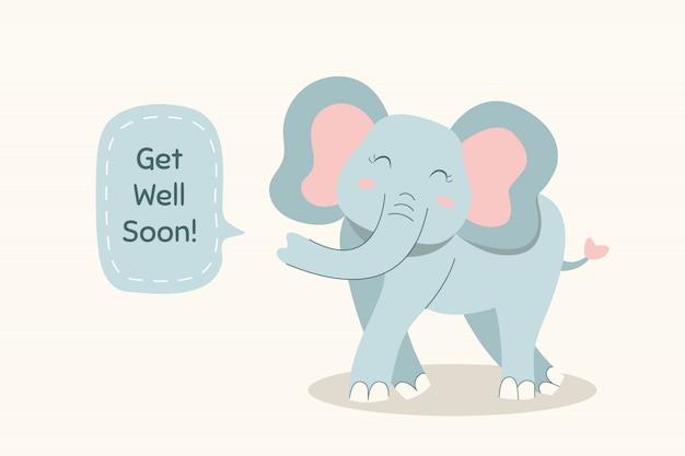 Fique bom logo citação e elefante fofo