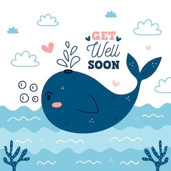 Fique bom logo com baleia fofa