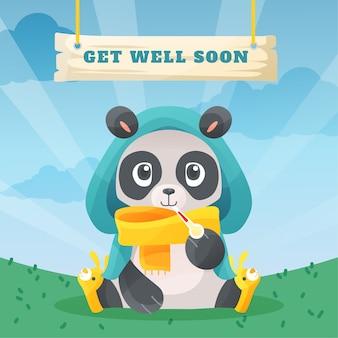 Fique bom logo com o urso panda