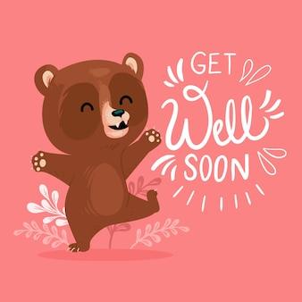Fique bom logo com um urso fofo