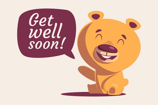 Fique bom logo cotação e urso feliz