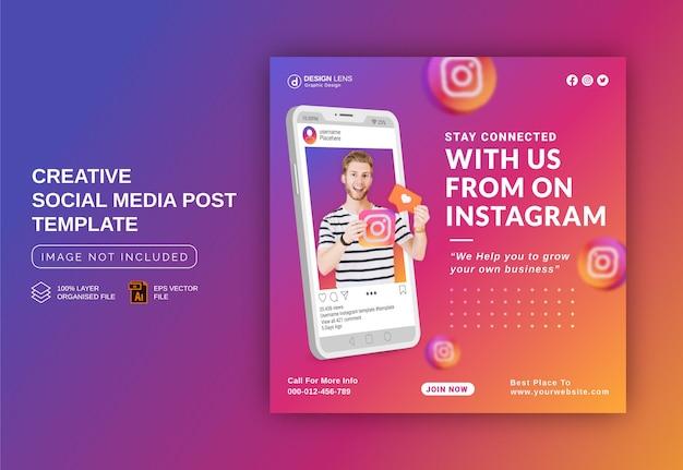 Fique conectado conosco no instagram para expandir o seu negócio modelo de postagem de mídia social