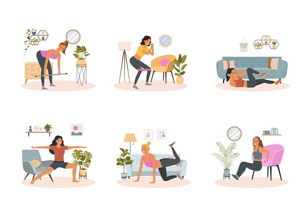 Fique e treine em casa. mulher de fitness fazendo exercícios na sala de estar. ilustração em vetor desenho animado estilo simples