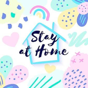 Fique em casa banner para mídias sociais
