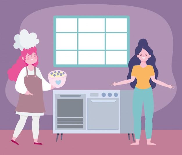 Fique em casa, chef feminina e garota no desenho da cozinha,