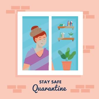 Fique em casa, coloque em quarentena ou auto-isolamento, fachada de casa com janela e mulher olhando para fora de casa, conceito de quarentena seguro.