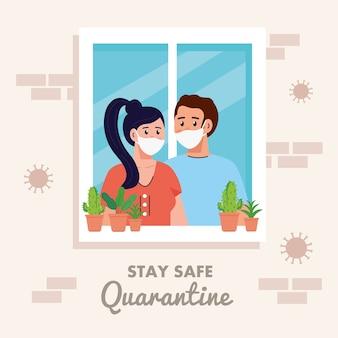 Fique em casa, coloque em quarentena ou auto-isolamento, fachada de casa com janela e o casal olha para fora de casa, conceito de quarentena seguro.