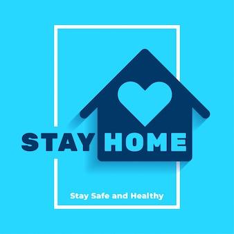 Fique em casa, com design de cartaz seguro e saudável