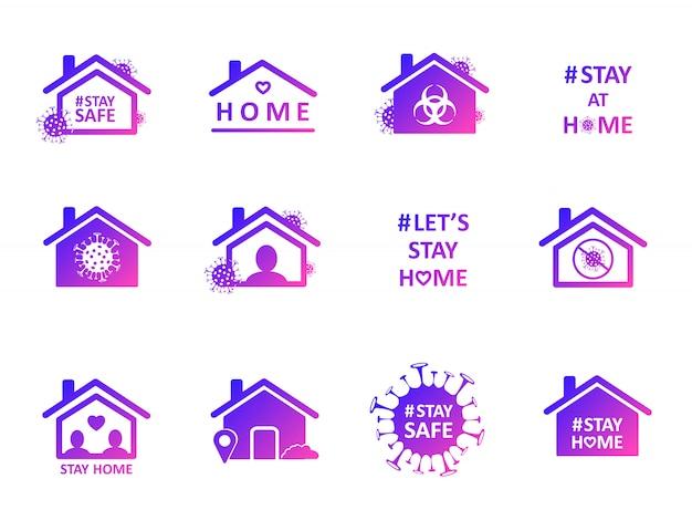 Fique em casa. conjunto de etiqueta de mídia social de auto-isolamento. medidas de distanciamento para impedir a propagação do vírus.