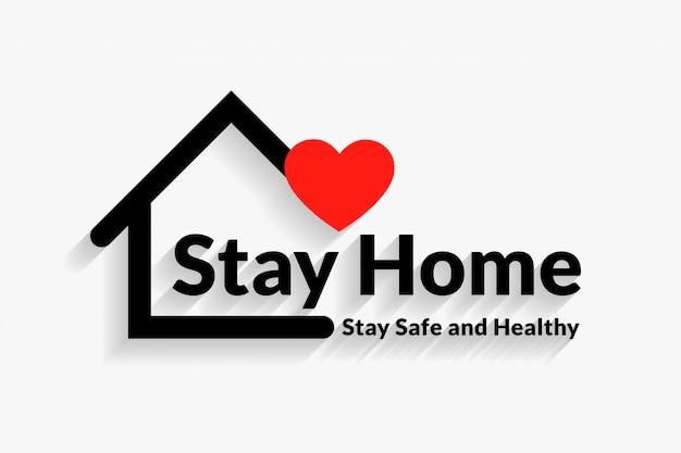 Fique em casa design de cartaz seguro e saudável