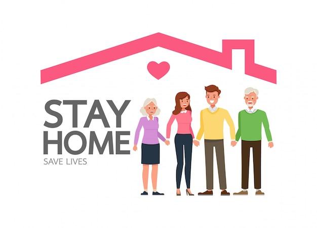 Fique em casa durante a epidemia de coronavírus. distanciamento social, conceito de auto-isolamento. família em quarentena, proteção contra vírus.