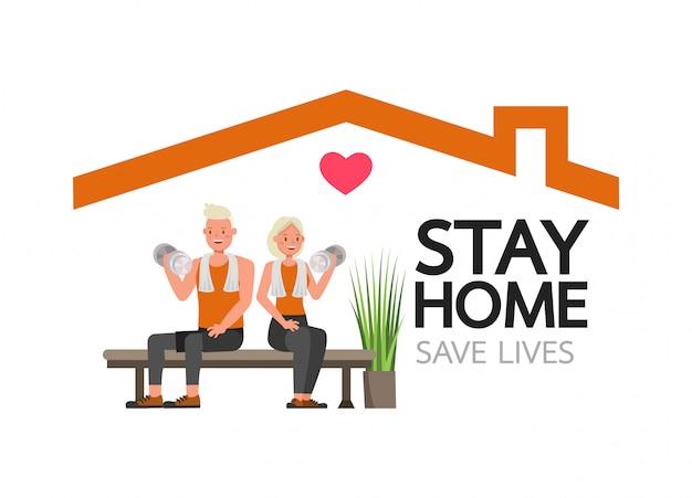 Fique em casa durante a epidemia de coronavírus. distanciamento social, conceito de auto-isolamento. o homem e a mulher na aptidão exercitam em casa.