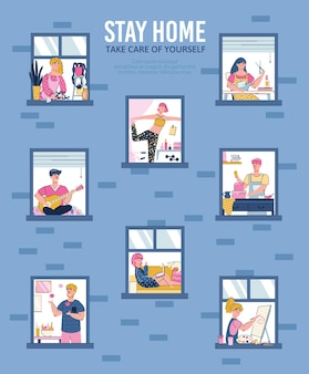 Fique em casa e cuide de si mesmo pôster ou banner cartoon ilustração vetorial