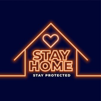 Fique em casa e fique protegido fundo neon