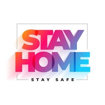 Fique em casa e mantenha o design de plano de fundo seguro