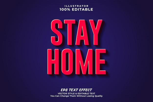 Fique em casa efeito de texto editável em negrito 3d, estilo editável