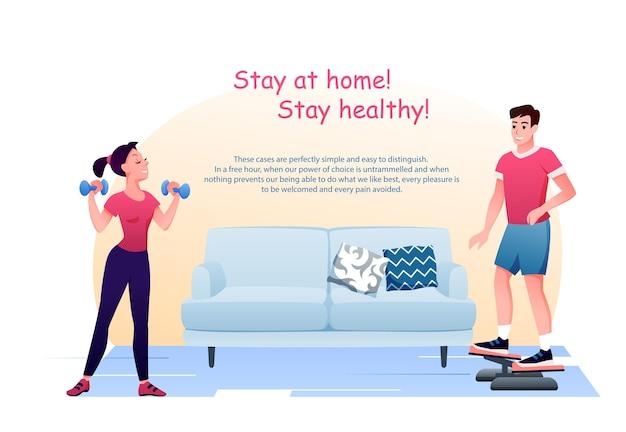 Fique em casa em quarentena. personagens ativos homem mulher fazem exercícios. conceito de coronavírus