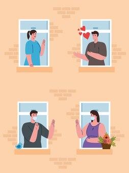 Fique em casa, fachada com janela, as pessoas olhem para fora de casa, auto-isolamento, distanciamento social, mantenha distância, quarentena devido a coronavírus, cobiçada 19