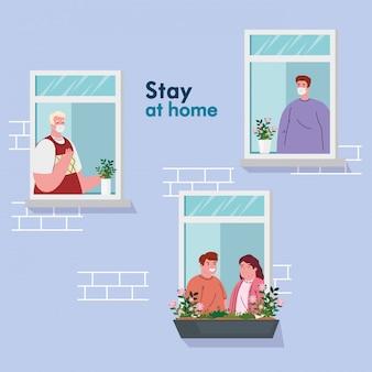 Fique em casa, fachada da casa com janela, as pessoas olham para fora de casa, auto-isolamento, quarentena devido a coronavírus, cobiçado