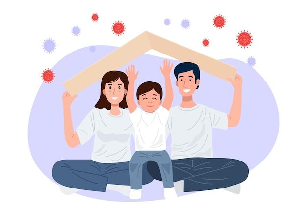 Fique em casa, família feliz segurando um teto sobre suas cabeças protegendo a família contra covid-19.