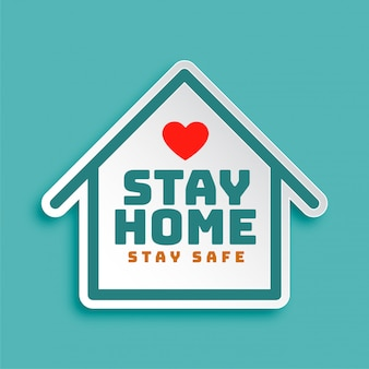 Fique em casa fique seguro design de cartaz motivacional