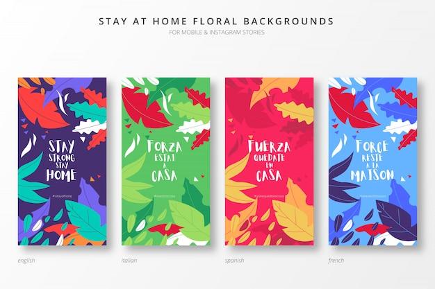 Fique em casa fundos coloridos para histórias insta em quatro idiomas