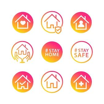 Fique em casa ícone social Vetor grátis
