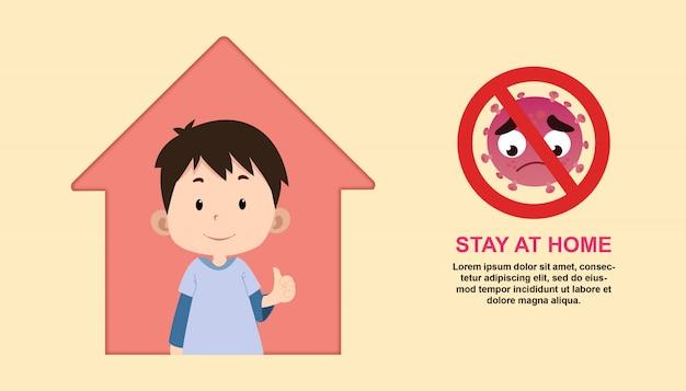 Fique em casa ilustração com caráter de crianças