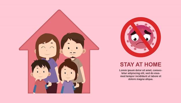 Fique em casa ilustração com caráter de família