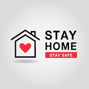 Fique em casa ilustração. coronavírus, covid 19 quarentena e logotipo de proteção.