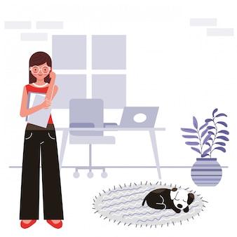Fique em casa ilustração do conceito