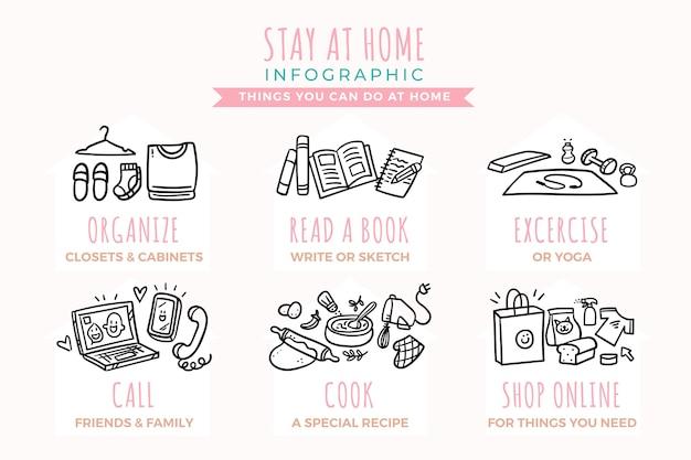 Fique em casa infográfico design